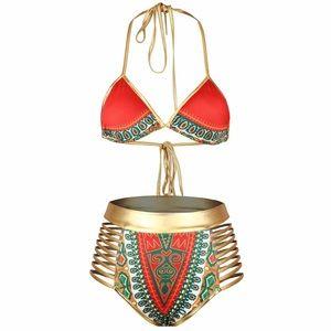 Other - Gold, Red, Green High Waist Bikini
